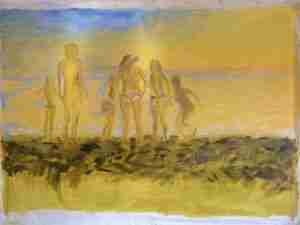 Oil painting of sassy women on beach