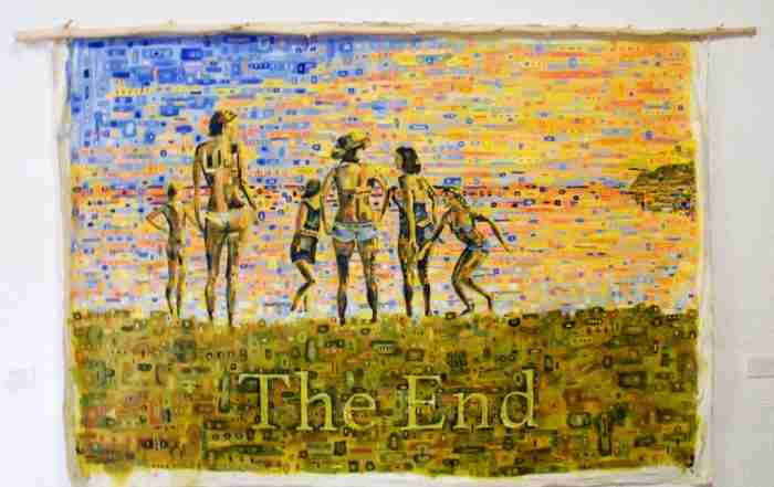 The End - large oil painting of bathers