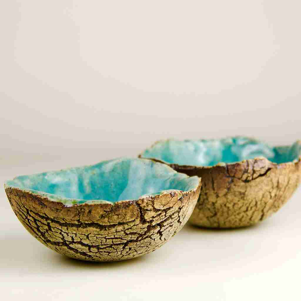 Cracked Earth Stoneware Bowls