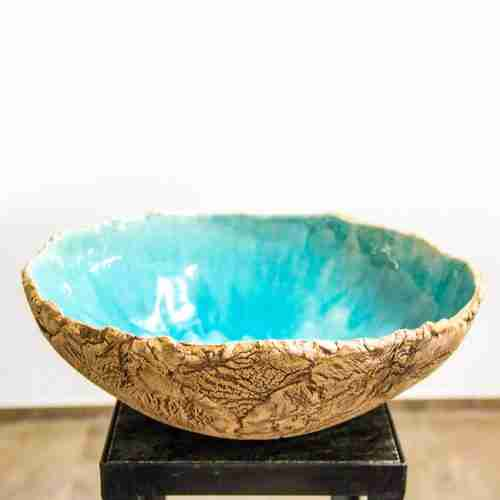 cracked earth, stoneware bowl with turquoise glaze